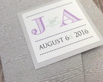 Woodgrain Rustic Pocketfold Wedding Invitation / String Light Wedding Invitation