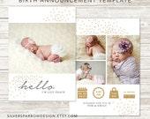 Baby Photo Announcement, Digital Photo Announcement, Gold Birth Announcement, Modern Baby Design, Girl Birth Announcement