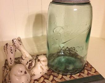 Vintage Blue Glass Quart Mason Jar, Ball Mason Jar