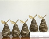 Vintage Brass Studded Pear Brass Fruit Statues Gold Metal Fall Celebrations Gatherings Table Decor