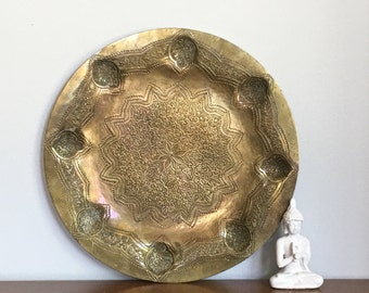 Vintage Brass Tray Round Persian Moroccan Serving Hand Chased Damascus Art Tray