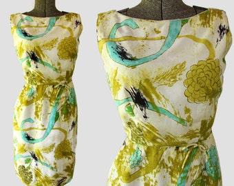 60s Mod Wiggle Dress Mad Men Abstract Print Hawaiian Atomic