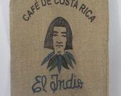 Burlap Coffee Bag Coffee Beans Cafe De Costa Rica Coffee Gunny Sack El Indio Advertising