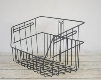 Vintage Wire Basket Black Rubber Coated Wire Basket Decorative Basket