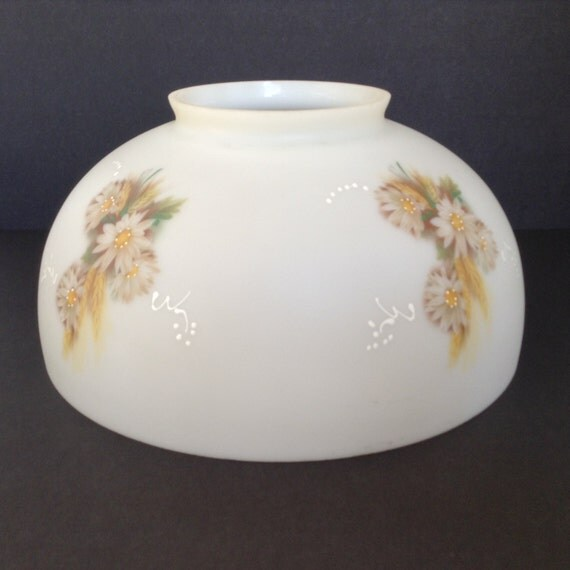 Milk Glass Dome Globe with Hand Painted Floral Design