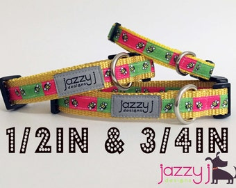 New Lime Green & Hot Pink Bumble Bee Summer Dog Collar