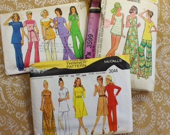 Vintage Sewing Patterns- Set of Three Vintage 1970's- Women size 14- 36 inch bust-  Dresses, Pants, Tops ,Shirt- some UNUSED