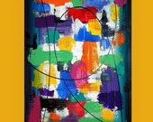art & collectibles, Paintings,  Acrylic Abstract Painting  Original Ora Birenbaum Titled: Play It Loud 3 24x36x1.5""