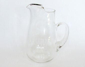 Large Clear Glass Water Ice Tea Footed Pitcher with Etched Letter B, Drinking Beverage Pitcher Jug Wedding Gift, Retro Barware