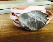 Labradorite leather wrap bracelet