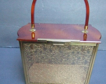 1950s Lucite Gold Lace Panel Box Shaped Handbag