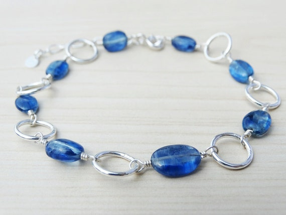 Kyanite & Silver Link Bracelet With Matching Earrings - Sterling Silver