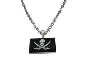 Black Pirate Skull Pendant Necklace