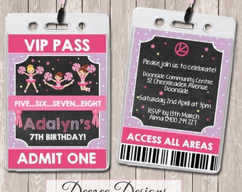 Cheerleader Personalised VIP Lanyard Birthday Invitations x 10
