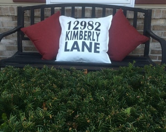 Street Address White Decorative Indoor or Outdoor Pillow Cover FREE SHIPPING