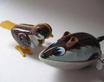 Vintage Pair of Tin Bird and Mouse Wind-up Toys