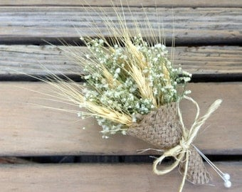 Simple Summer Wheat Pin Corsage - Dried Wedding Corsage - Wheat & Baby's Breath