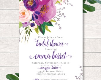 Bridal Shower Invitation Printed,Digital Bridal Shower Invitation,Printed Bridal Shower,Watercolor Flowers, Purple Flowers,Purple Invitation