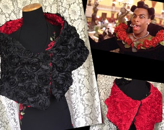 VTG Avant Garde Rose Shawl - Textured Floral Shoulder Wrap - Red and Black Roses Stole - Halloween - Fifth Element -Day of the Dead