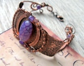 Wire Wrapped Copper Bracelet - Purple Wire Cuff Bracelet - Handforged Antique Copper Bracelet - Metalwork bracelet with purple gemstones