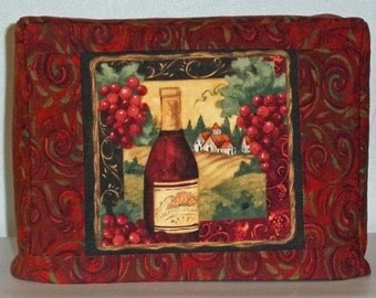 Two Slice Toaster Cover, Wine Theme Toaster Cover, Burgundy, Red and Green, Tuscan Scene