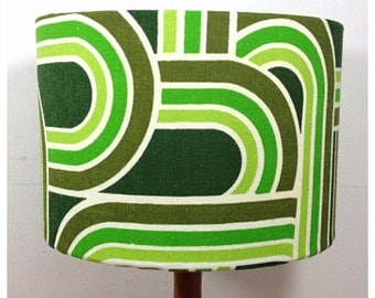 Lampshade Vintage Retro Green Graphic Fabric 30 cm Kitsch