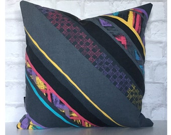 "Handmade  Cushion Cover Vintage 1980s Grey Abstract Fabric 16"" x 16"""