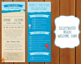 Illustrated Beach Wedding Welcome Card