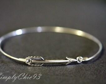 Brave Silver Arrow Bangle Bracelet  Bridal Cuff , Bridesmaids Gifts,Single Arrow Cuff Bracelet, Archery jewelry,  The Hunger Games