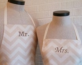 Neutral Chevron Stripe Mr & Mrs Apron Set with Pocket FREE SHIPPING - Husband and Wife, Brown Tan and Cream Ivory, Wedding Shower Gift Idea