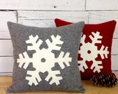 Decorative Winter Pillow, Gray Snowflake Pillow, Rustic Throw Pillow, Christmas Pillow, 12 inch or 16 inch square Pillow