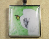 Old English Sheepdog Pendant - Monarch Butterfly Kissed OES, Dulux Dog, Square Pendant, Jewelry
