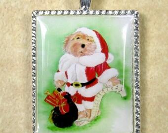 Christmas Bear Pendant, Santa Claus Bear Necklace, Teddy Bear Santa Claus Pendant, Christmas Pendant, Christmas Jewelry, Christmas Necklace
