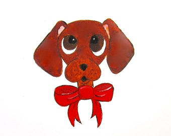 Dachshund Print, Cartoon Red Smooth Dachshund Art, Dachshund Painting, Wiener Dog Print, Wiener Dog Art, Dachshund Gifts, Wiener Dog Gifts