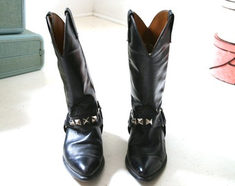 Vintage Black Motorcycle Cowboy Boots Studded Harnesses