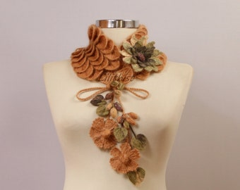 Beige Green Scarf, Crochet Cowl, Collar Bib, Flower Scarf, Neck Cowl, Crochet Infinity Scarf, Black Neck Warmer Leaf Scarf Women Accessories