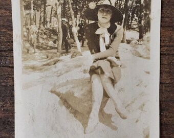 Original Antique Photograph The Lady Tourist