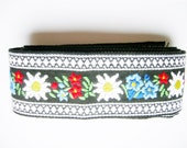 German Vintage Woven Bavarian Rustic Folk Art Edelweiss and Enzian Cotton Flower Trim - Restpiece sewing supply