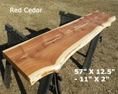 Live Edge Bar Top, Finished Red Cedar Wood Slab, Behind the Sofa Table, Natural Edge Buffet Table, Work Station, Foyer Table, Mantle 4530