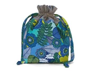 Small Knitting Project Bag, Sock Project Bag, Lined Drawstring Bag