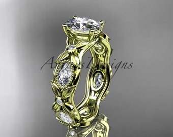 """14kt yellow gold diamond leaf and vine wedding ring, engagement ring with a """"Forever One"""" Moissanite center stone ADLR152"""