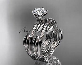 14k white gold leaf and vine wedding ring, engagement set ADLR343S
