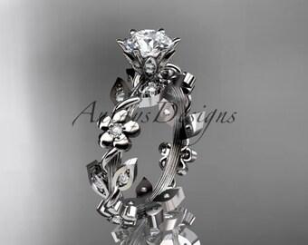 Platinum diamond leaf and vine engagement ring ADLR209