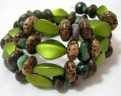 Green and Brown Memory Wire Wrap Bracelet 3 Coil Stackable Jewelry