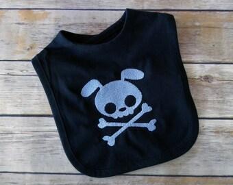 Punk Baby Boy Bib - Puppy Baby Shower - Skull and Crossbones - Newborn Boy Clothes - Baby Skull Clothes - Baby Boy Gift - Punk Baby Clothes