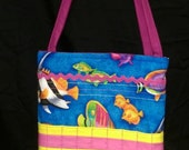 Bright Blue, Fish Activity Bag with a Ton of Activities Included. Cotton with 2 Long Carry Straps, Large Pockets, Batting, Super Soft, FUN!!
