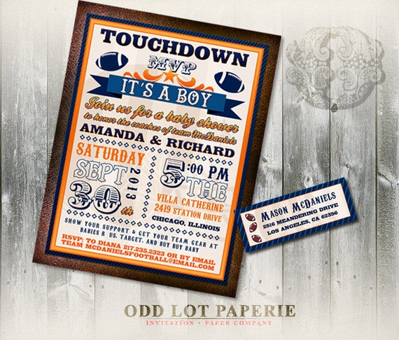 football baby shower invitation and address labels football invite