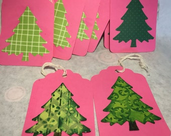 Set of 8 Tree Tags with String
