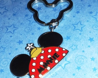 Minnie Mouse Hat and Mickey Ears Key Ring, Re-purposed from Disney Trading Pin, 3.5 Inches Long