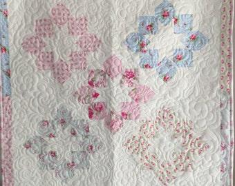 Baby Girl Quilt, Baby Girl Blanket, Shabby Chic Quilt Blanket, Pink Quilt, Lap Quilt